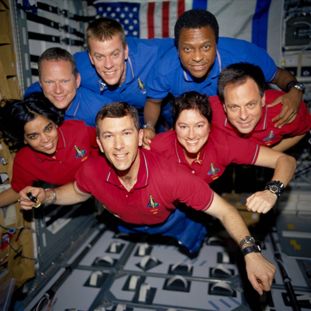 The STS-107 crew.  Top row from left: David Brown, William McCool, and Michael Anderson. Bottom row, from left: Kalpana Chawla, Commander Rick Husband, Laurel Clark, and Ilan Ramon.  Image credit: NASA