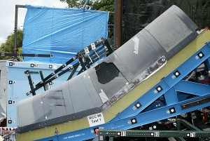 A test was conducted on a replica of the wing leading edge to assess the approximate damage the shuttle underwent.