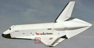 Above is a depiction of where the shuttle was struck by the detached foam piece. 22 grey RCC panels line each wing of the shuttle. NASA Photo