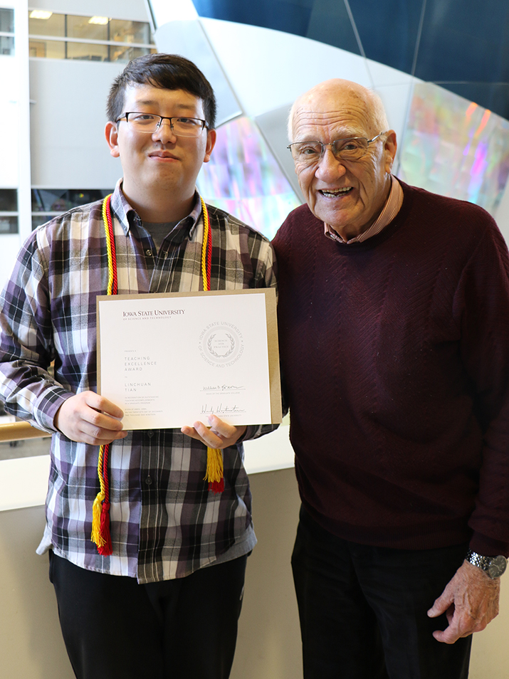 Linchuan Tian with Dr. Joe Schaefer