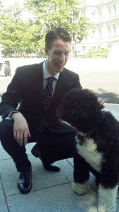 Tor Finseth, aerospace engineering alum, with presidential canine, Bo Obama.